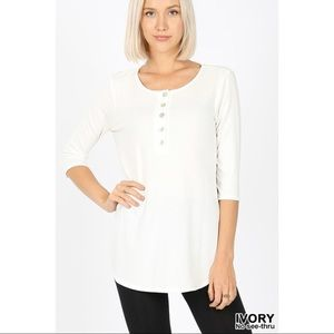 CLAIR SHELL BUTTON TOP - IVORY